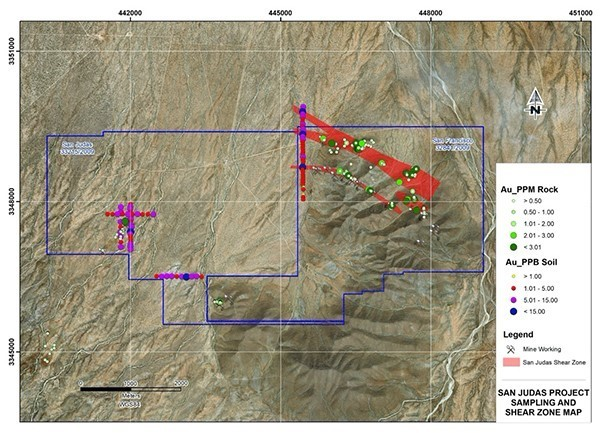 San Judas project sampling and shear zone map